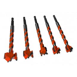 Set von 5 TCT-Bohrlochsägen, Forstner (16-25 mm, Sechskantwelle)