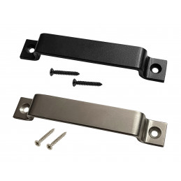 Set of 4 sturdy metal handles (2.5 x 16 cm, silver)  - 1