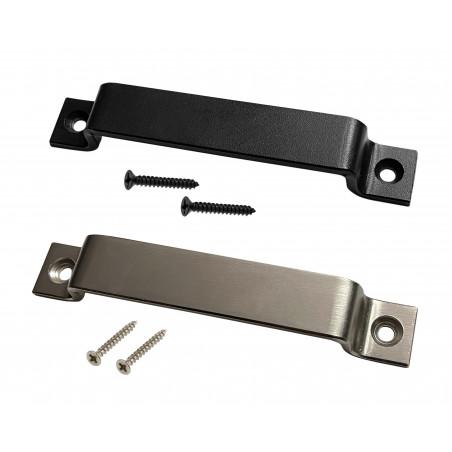 Set of 4 sturdy metal handles (2.5 x 16 cm, black)