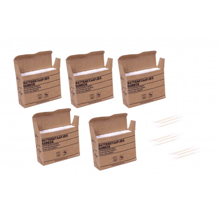 Set of 1000 bamboo swabs (7.5 cm long) in a cardboard boxes