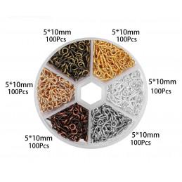 Set mini œillets à vis (600 pièces, 5x10 mm, différentes