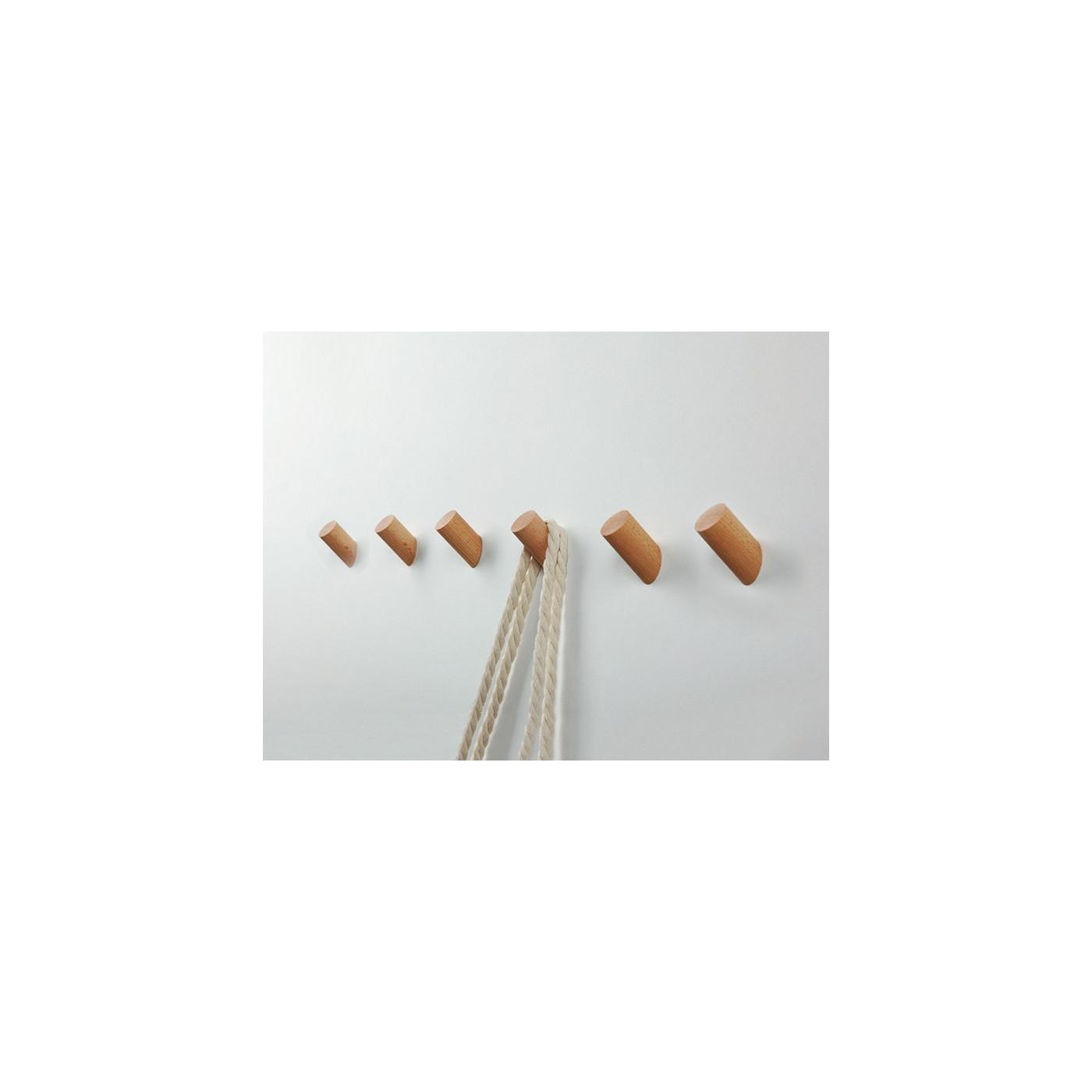 Set of 6 wooden clothes hooks, beech