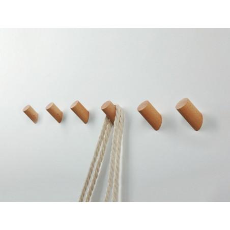 Set van 6 houten kledinghaken (kapstok), beuken