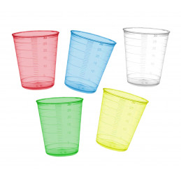 Set of 160 measuring cups (30 ml, yellow, PP, for frequent use)