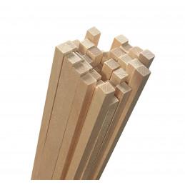 Set van 50 houten stokken (vierkant, 5x5 mm, 60 cm lang