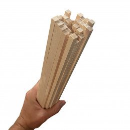 Set of 50 wooden sticks (square, 5x5 mm, 60 cm length, birch