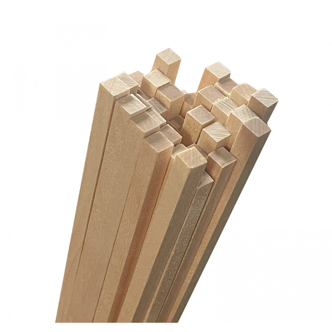 Set van 50 houten stokken (vierkant, 8x8 mm, 70  cm lang, berkenhout)  - 1