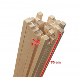 Set of 50 wooden sticks (square, 8x8 mm, 70 cm length, birch