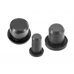 Set of 300 rubber plugs (inside, round, 3.35 mm, black)