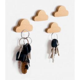 Set of 4 wooden key holders (cloud, magnetic, beech wood)