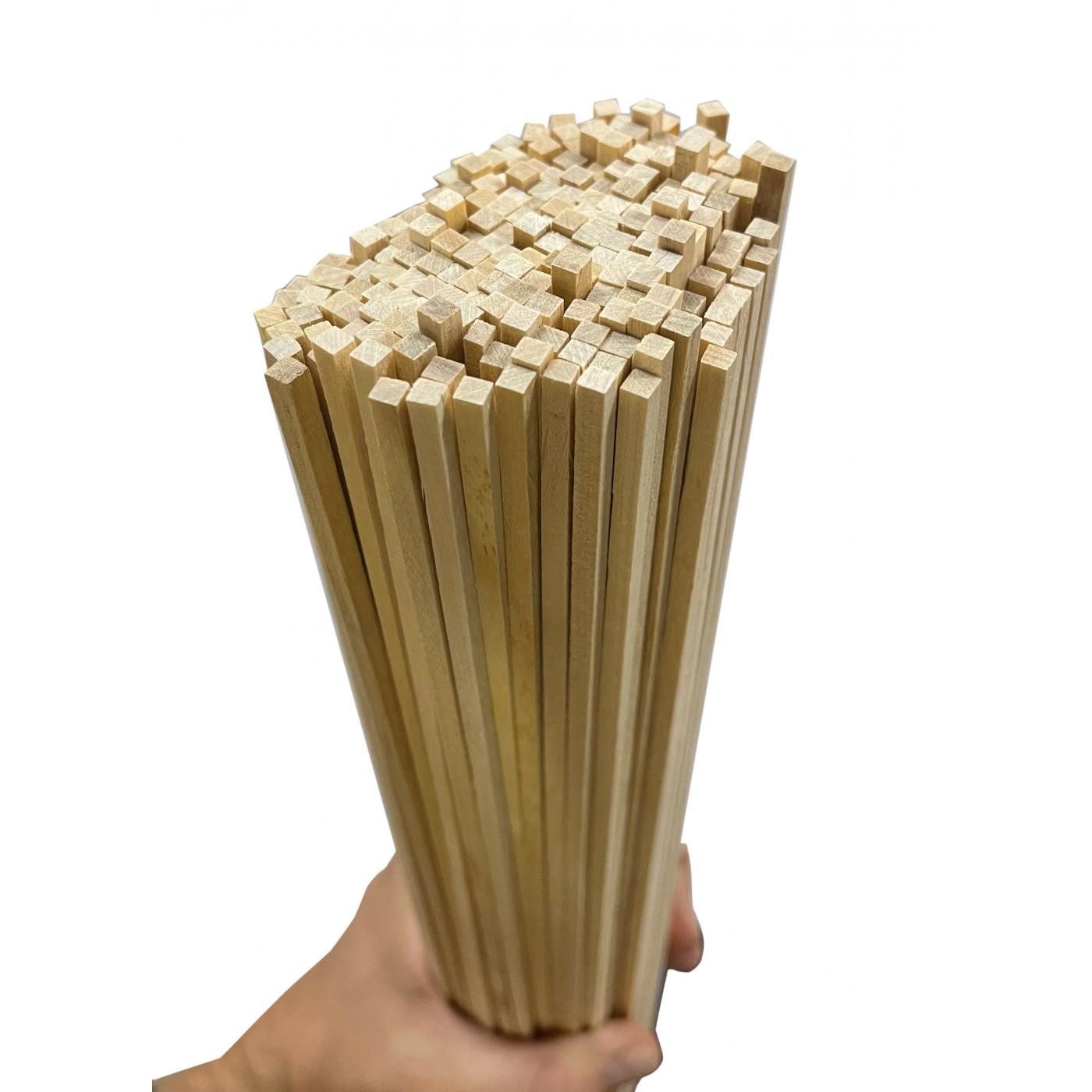 Set van 200 houten stokken (vierkant, 3.8x3.8 mm, 40 cm lang