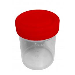 Set van 50 plastic potjes (60 ml) met rode schroefdoppen  - 1