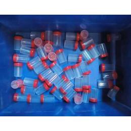 Lot de 50 pots à échantillons, 60 ml avec bouchons à vis rouges