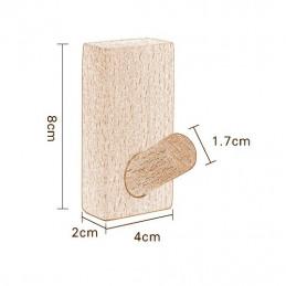 Lot de 4 patères robustes pour vestes et sacs (bois de chêne)