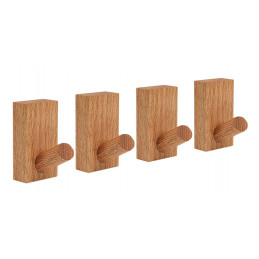 Set of 4 sturdy clothes hooks for jackets and bags (oak wood)