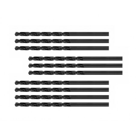 Set van 10 metaalboren (HSS-R, 4.0x75 mm)