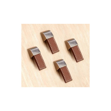 Lot de 4 poignées en cuir (monotrou, marron)