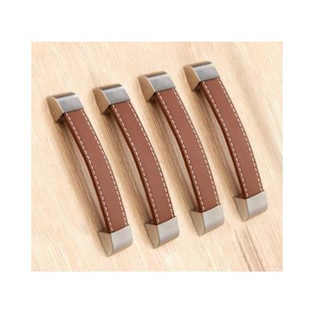 Lot de 4 poignées en cuir (96 mm, marron, embout métal)