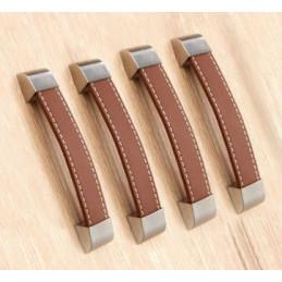 Lot de 4 poignées en cuir (128 mm, marron, embout métal)