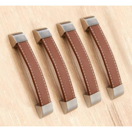 Set of 4 leather handles (128 mm, brown, metal endpiece)
