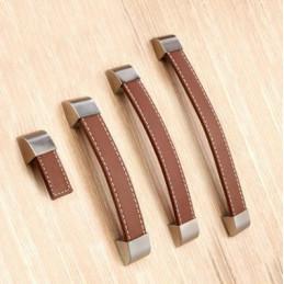 Set van 4 leren handgrepen (128 mm, bruin, eindstuk metaal)