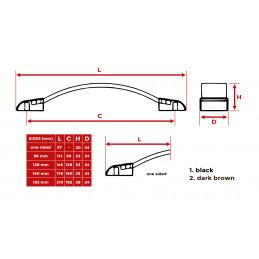 Set van 4 leren handgrepen (160 mm, bruin, eindstuk metaal)