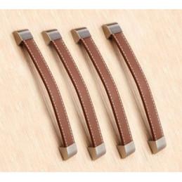 Set van 4 leren handgrepen (192 mm, bruin, eindstuk metaal)
