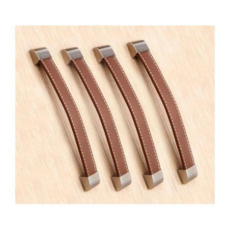Set of 4 leather handles (192 mm, brown, metal endpiece)