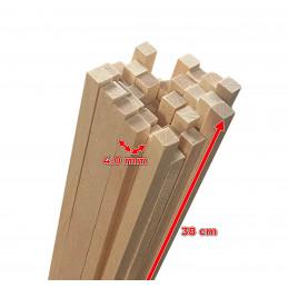 Set van 200 houten stokken (vierkant, 4.0x4.0 mm, 38 cm lang, berkenhout)  - 2
