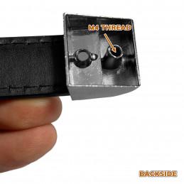 Set of 4 black leather handles (128 mm, metal end piece)