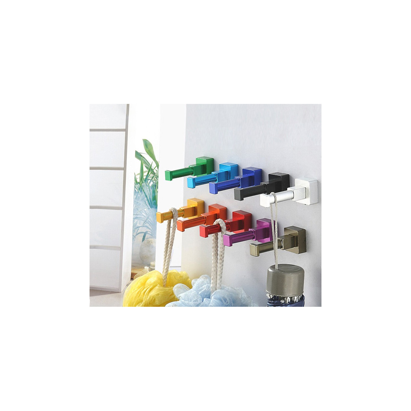 Set of 10 colorful clothes hooks (aluminum, square, bronze)
