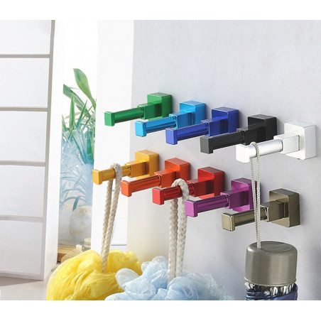 Set of 10 colorful clothes hooks (aluminum, square, light blue)  - 1