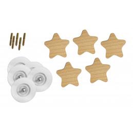 Patère en bois pour chambres d'enfants (étoile, bois de hêtre)