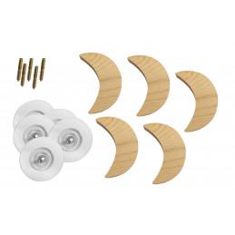 Patère en bois pour chambres d'enfants (lune, bois de hêtre)