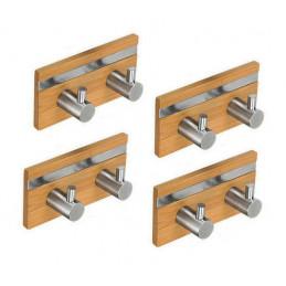 Conjunto de 4 cabides de bambu, 2 ganchos (com aço inoxidável)