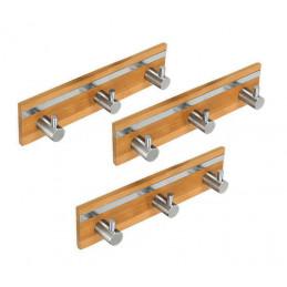 Conjunto de 3 cabides de bambu, 3 ganchos (com aço inoxidável)