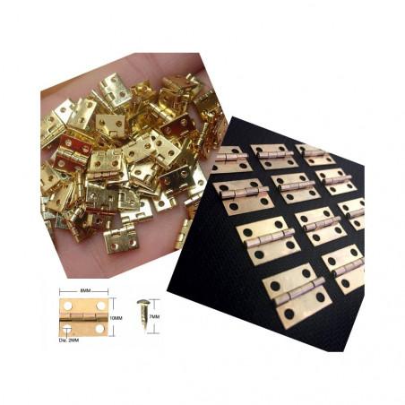 Set of 100 pieces mini copper hinges