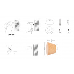 Kleiderhaken aus Holz (Garderobe), 1 stuck, Buchenholz  - 4