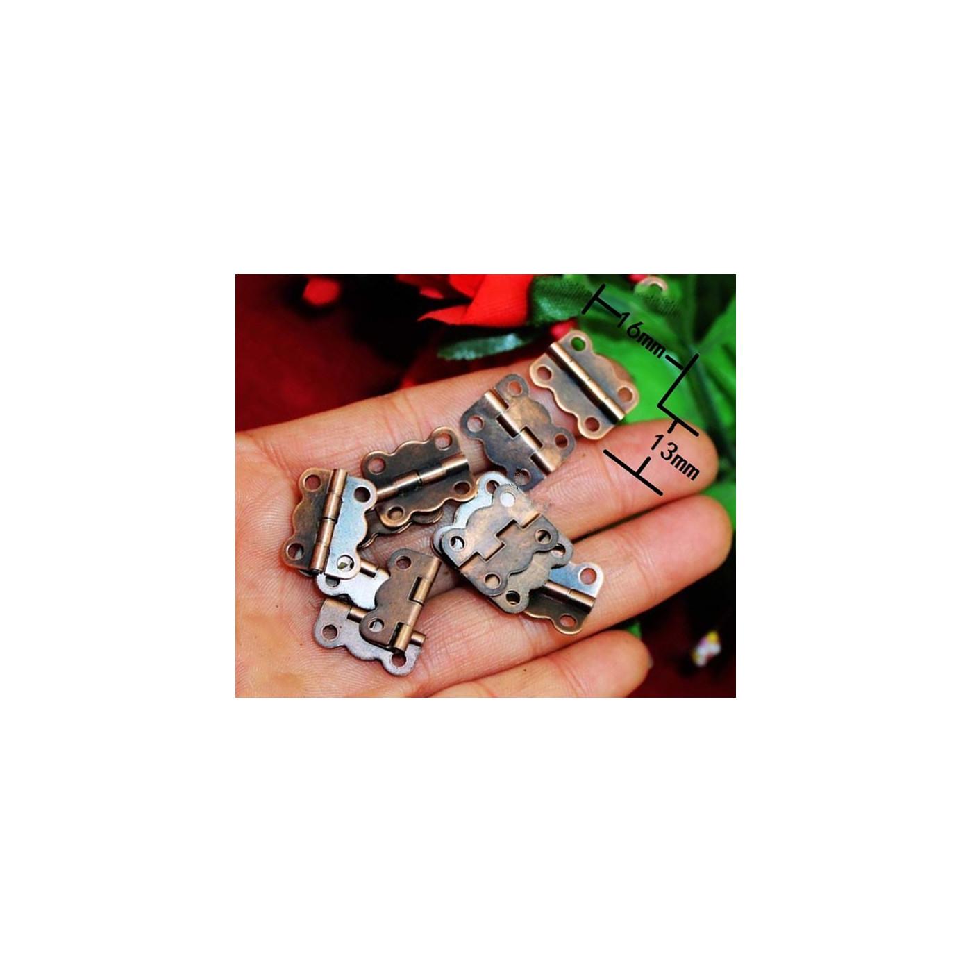 Set van 40 metalen scharniertjes (16x13 mm brons)  - 1