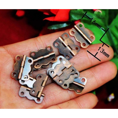 Set of 40 small hinges, bronze color (16x13 mm)