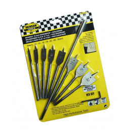 Set of 8 flatbit wood drills with extension (6-32 mm)  - 1