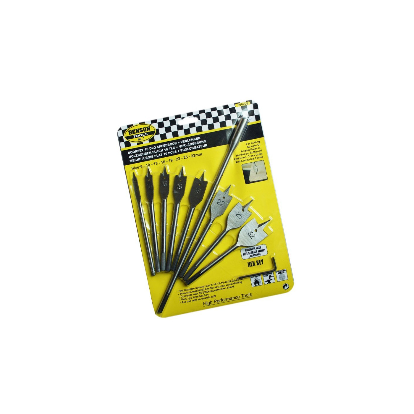 Set of 8 flatbit wood drills with extension (6-32 mm)