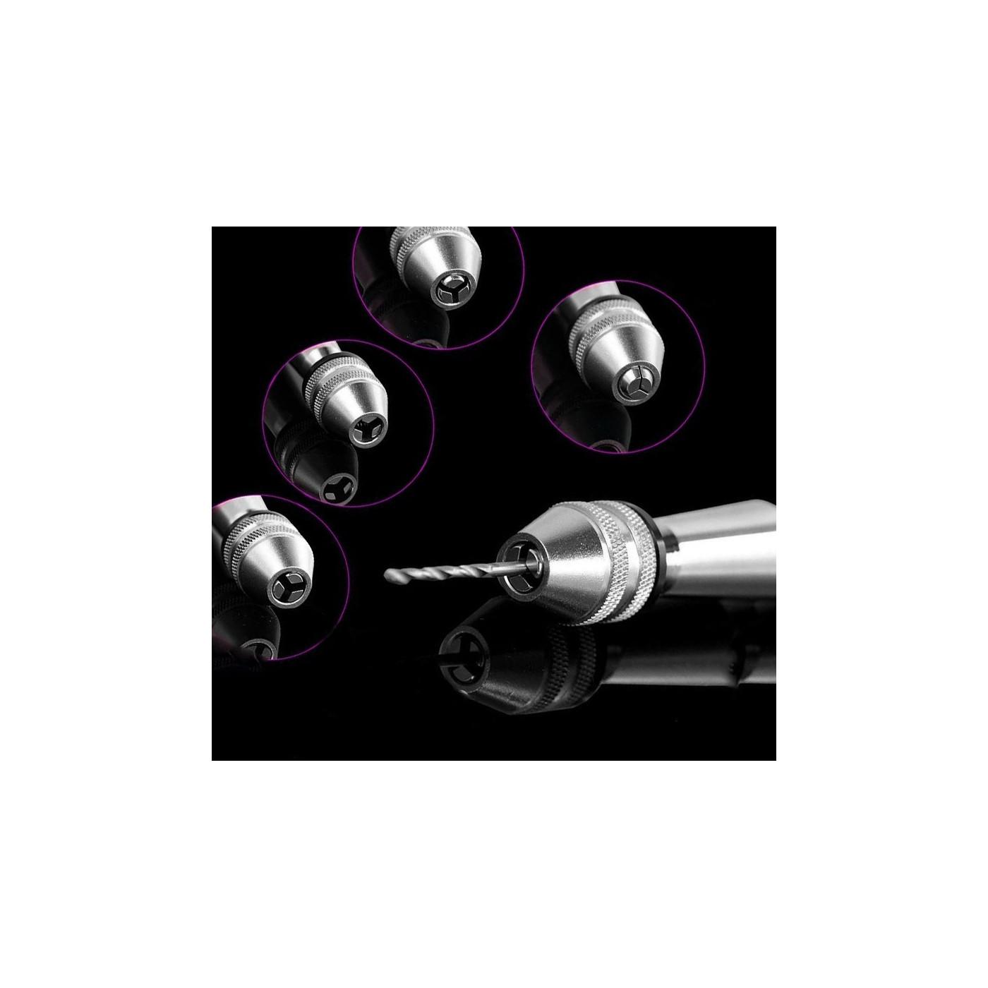 Solidna wiertarka ręczna, srebrna z 10 wiertłami (0,8-3,0 mm)