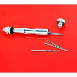 Trapano a mano solido, argento con 10 punte (0,8-3,0 mm)