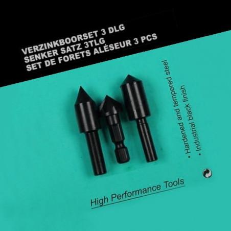 Set of 3 countersink drill bits