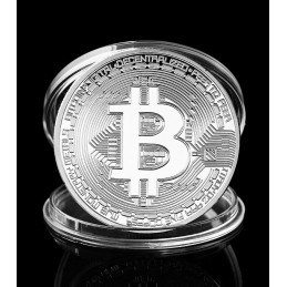 Bitcoin coin, silver color, in box