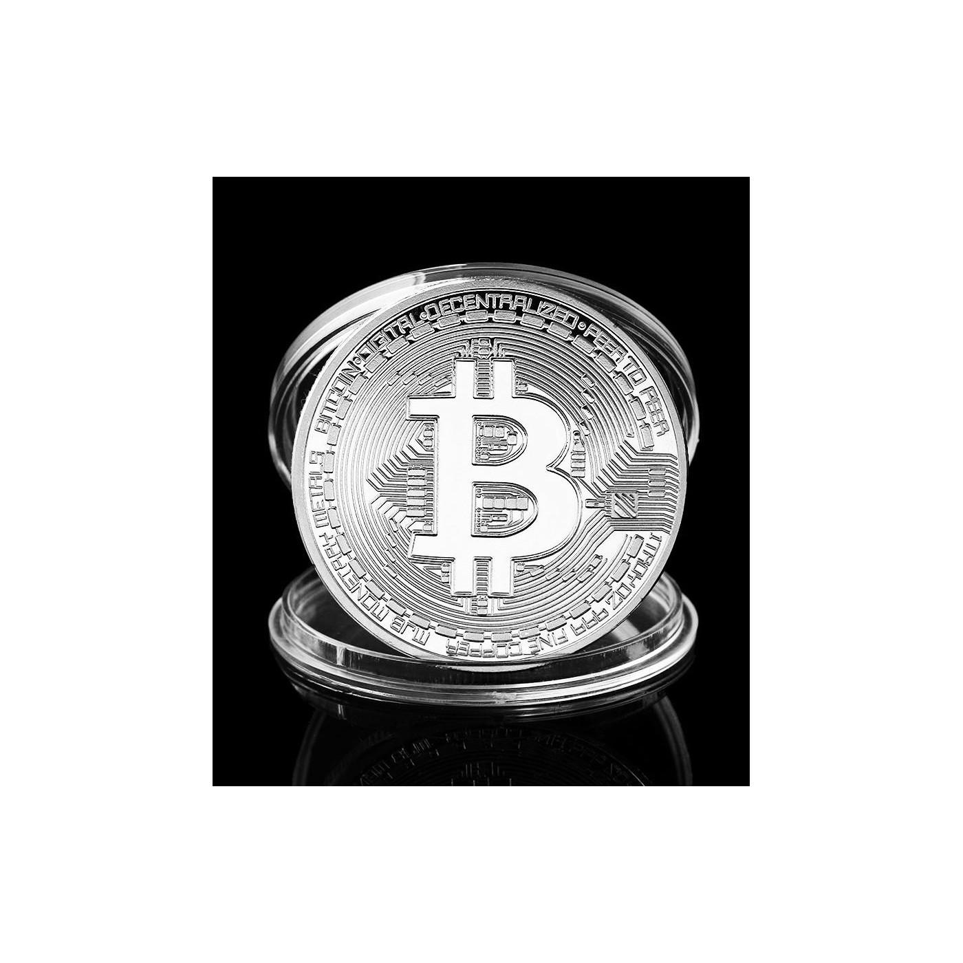 Bitcoin munt, zilverkleur, in opbergdoosje