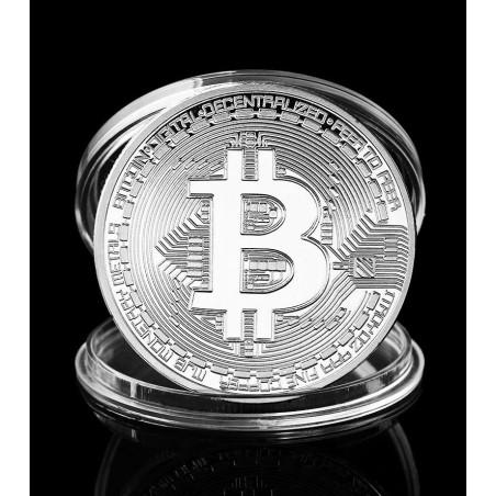Bitcoin coin, silver color, in box