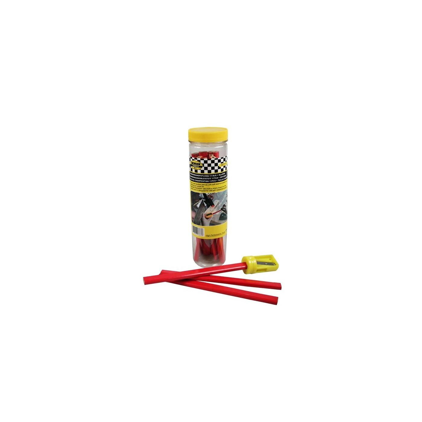 Set crayons de menuisier (11 pièces) plus taille-crayon