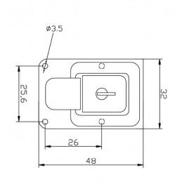 Loquet de coffre, jeu de serrures, couleur argent, 32x48 mm
